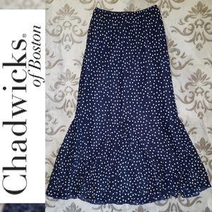 CHADWICKS Godet/Mermaid Style Polka Dot Navy Skirt